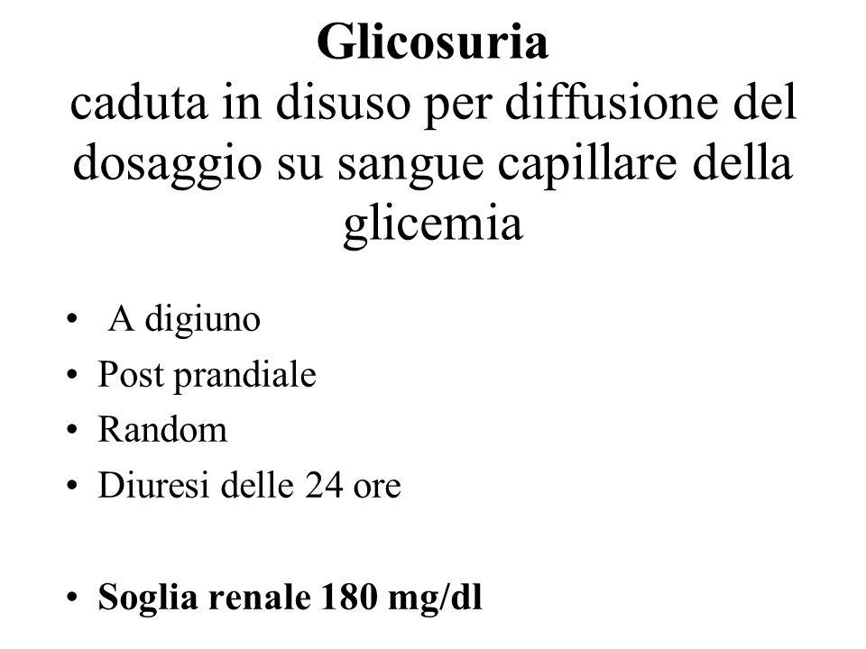 Glicosuria caduta in disuso per diffusione del dosaggio su sangue capillare della glicemia A digiuno Post prandiale Random Diuresi delle 24 ore Soglia