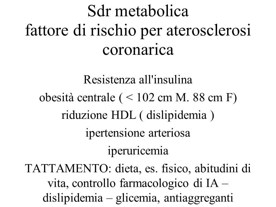 Sdr metabolica fattore di rischio per aterosclerosi coronarica Resistenza all'insulina obesità centrale ( < 102 cm M. 88 cm F) riduzione HDL ( dislipi