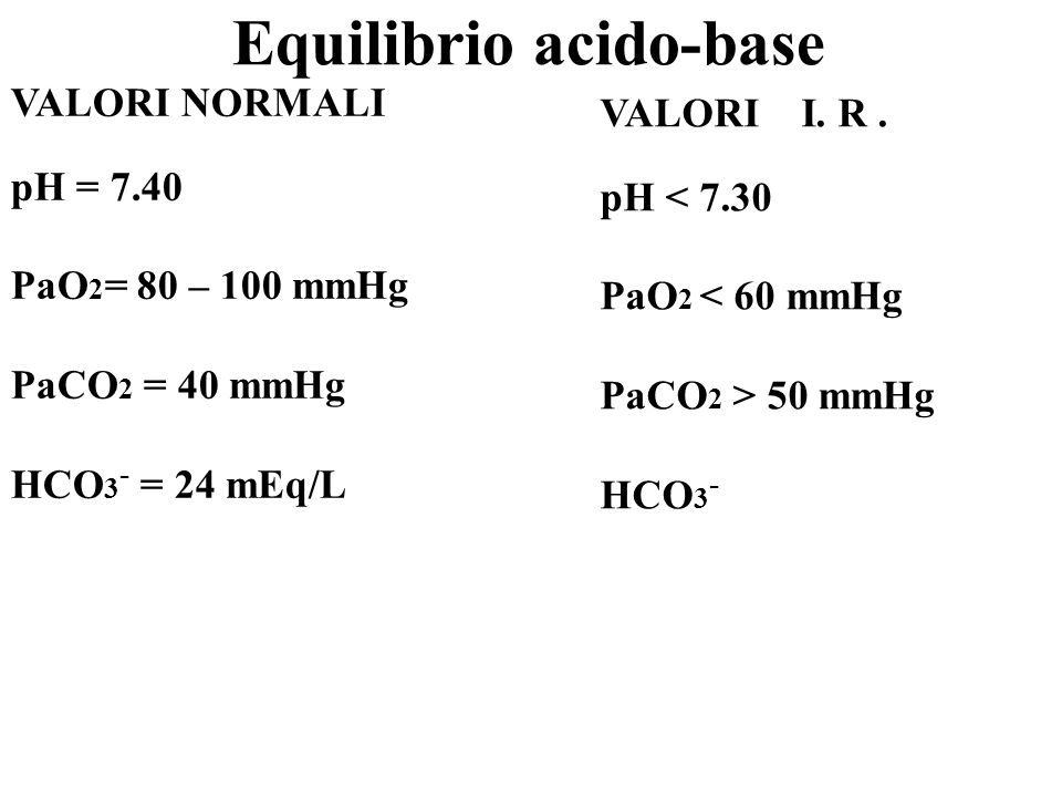 VALORI NORMALI pH = 7.40 PaO 2 = 80 – 100 mmHg PaCO 2 = 40 mmHg HCO 3 - = 24 mEq/L VALORI I. R. pH < 7.30 PaO 2 < 60 mmHg PaCO 2 > 50 mmHg HCO 3 - Equ
