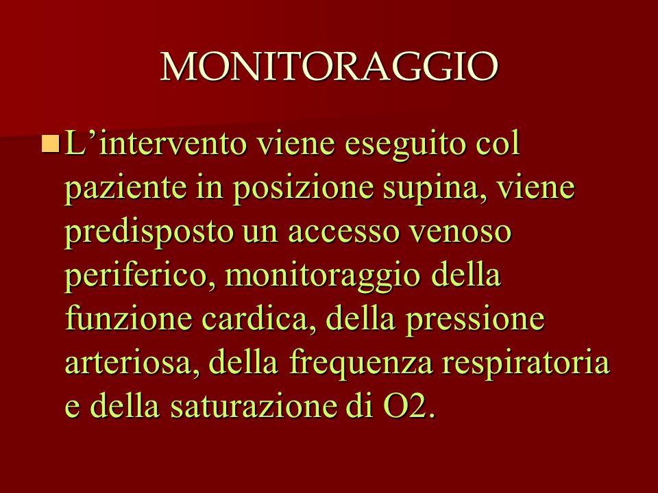 MONITORAGGIO Lintervento viene eseguito col paziente in posizione supina, viene predisposto un accesso venoso periferico, monitoraggio della funzione