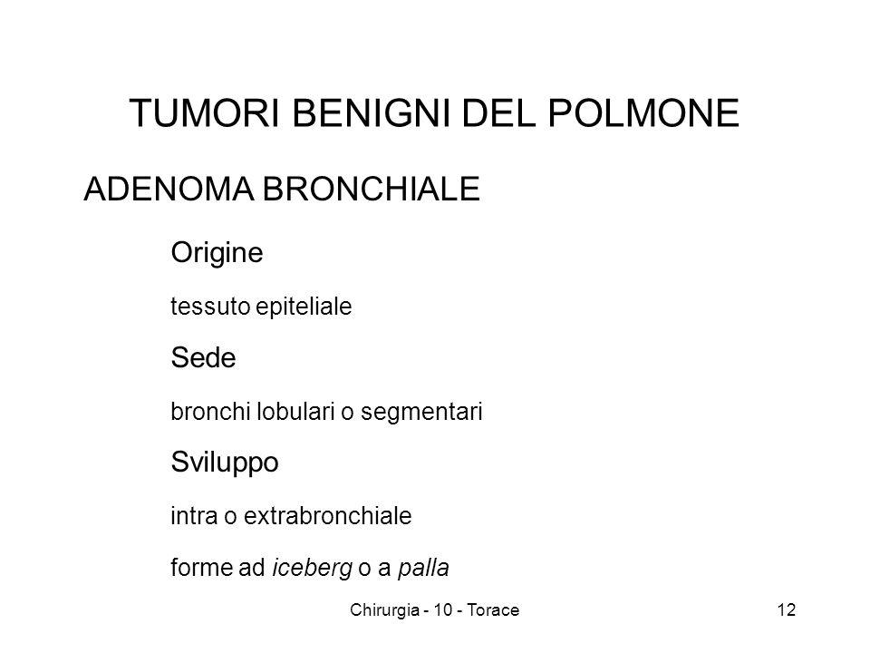 TUMORI BENIGNI DEL POLMONE ADENOMA BRONCHIALE Origine tessuto epiteliale Sede bronchi lobulari o segmentari Sviluppo intra o extrabronchiale forme ad iceberg o a palla 12Chirurgia - 10 - Torace