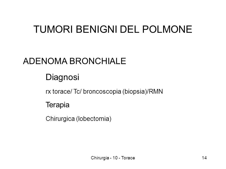 TUMORI BENIGNI DEL POLMONE ADENOMA BRONCHIALE Diagnosi rx torace/ Tc/ broncoscopia (biopsia)/RMN Terapia Chirurgica (lobectomia) 14Chirurgia - 10 - Torace