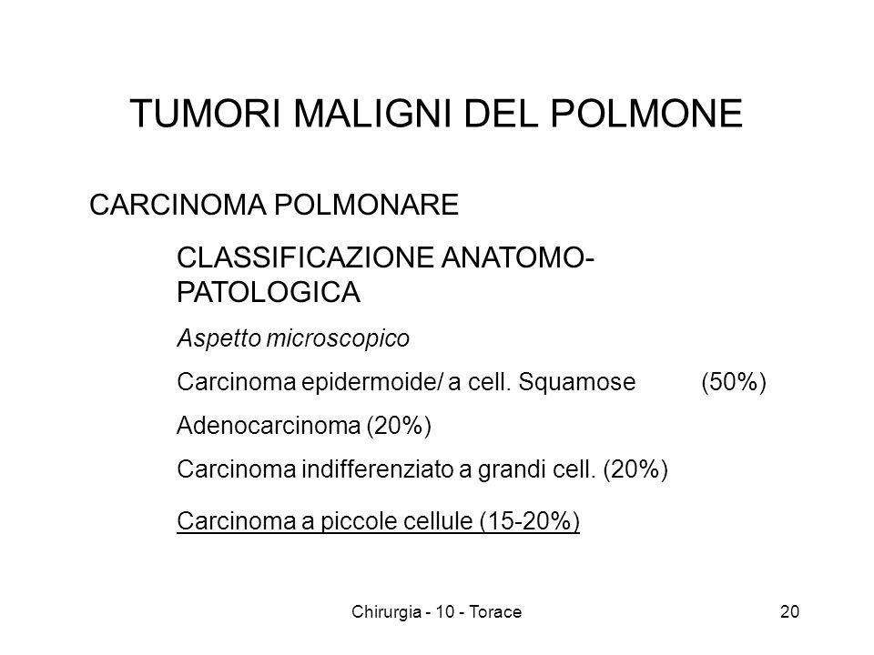 TUMORI MALIGNI DEL POLMONE CARCINOMA POLMONARE CLASSIFICAZIONE ANATOMO- PATOLOGICA Aspetto microscopico Carcinoma epidermoide/ a cell.