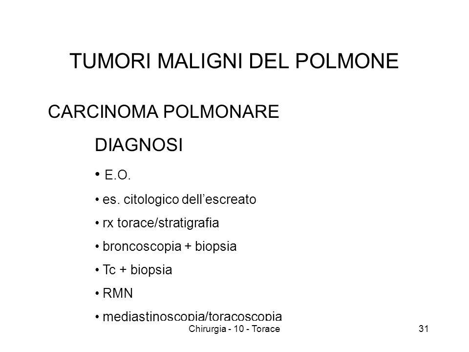 TUMORI MALIGNI DEL POLMONE CARCINOMA POLMONARE DIAGNOSI E.O.