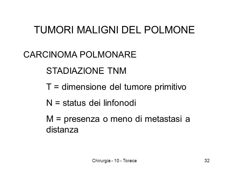 TUMORI MALIGNI DEL POLMONE CARCINOMA POLMONARE STADIAZIONE TNM T = dimensione del tumore primitivo N = status dei linfonodi M = presenza o meno di metastasi a distanza 32Chirurgia - 10 - Torace