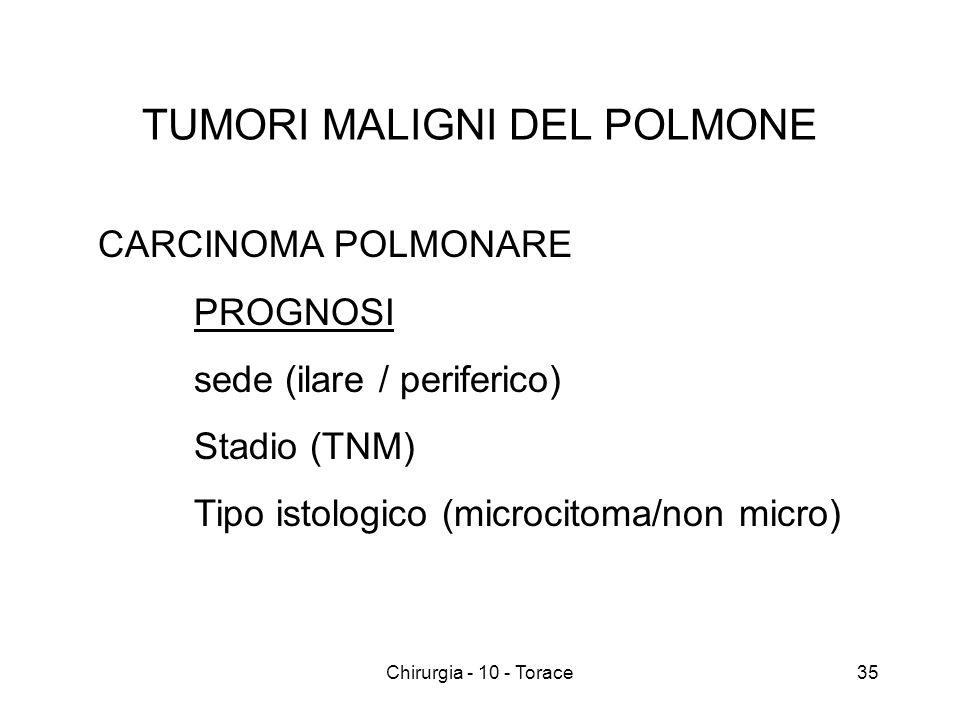 TUMORI MALIGNI DEL POLMONE CARCINOMA POLMONARE PROGNOSI sede (ilare / periferico) Stadio (TNM) Tipo istologico (microcitoma/non micro) 35Chirurgia - 10 - Torace