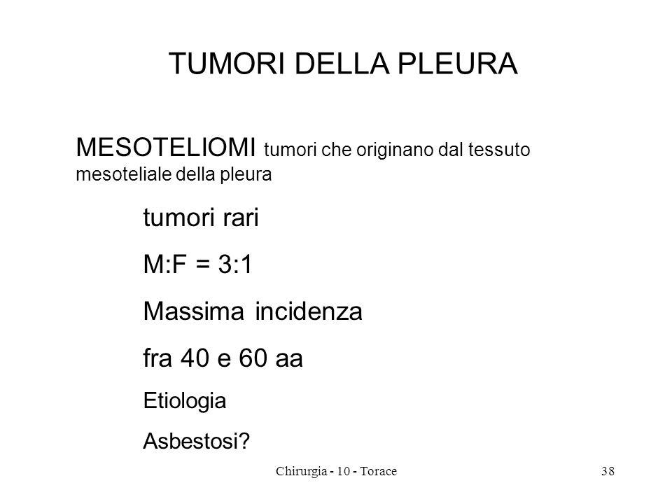 TUMORI DELLA PLEURA MESOTELIOMI tumori che originano dal tessuto mesoteliale della pleura tumori rari M:F = 3:1 Massima incidenza fra 40 e 60 aa Etiologia Asbestosi.