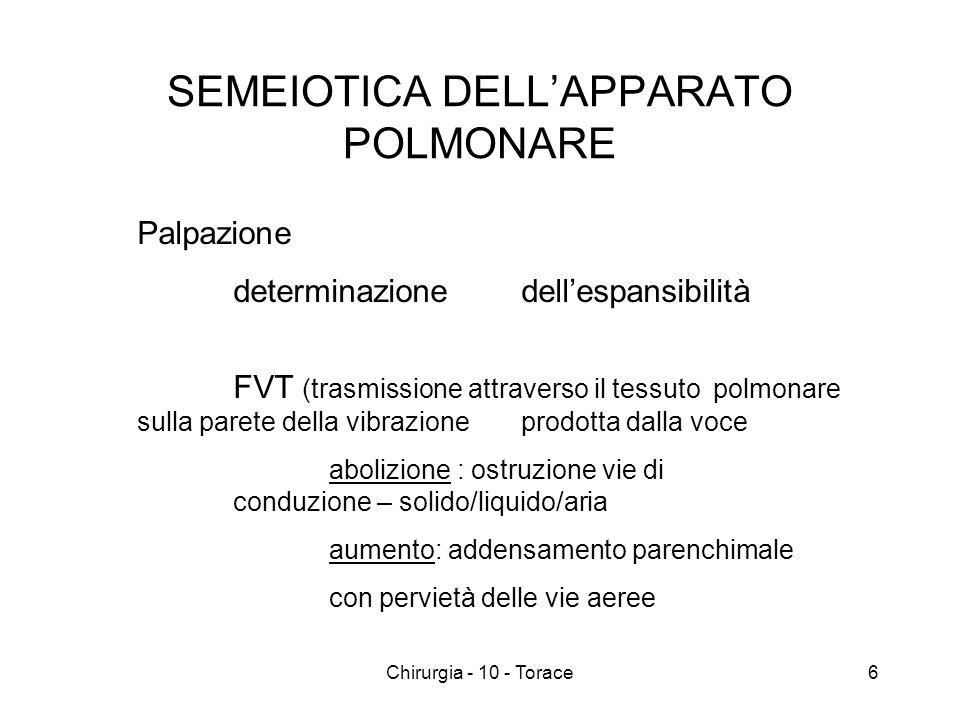 SEMEIOTICA DELLAPPARATO POLMONARE Percussione suono chiaro polmonare iperfonesi (pneumotorace/enfisema) ipofonesi ( interposizione di solido/liquido) 7Chirurgia - 10 - Torace