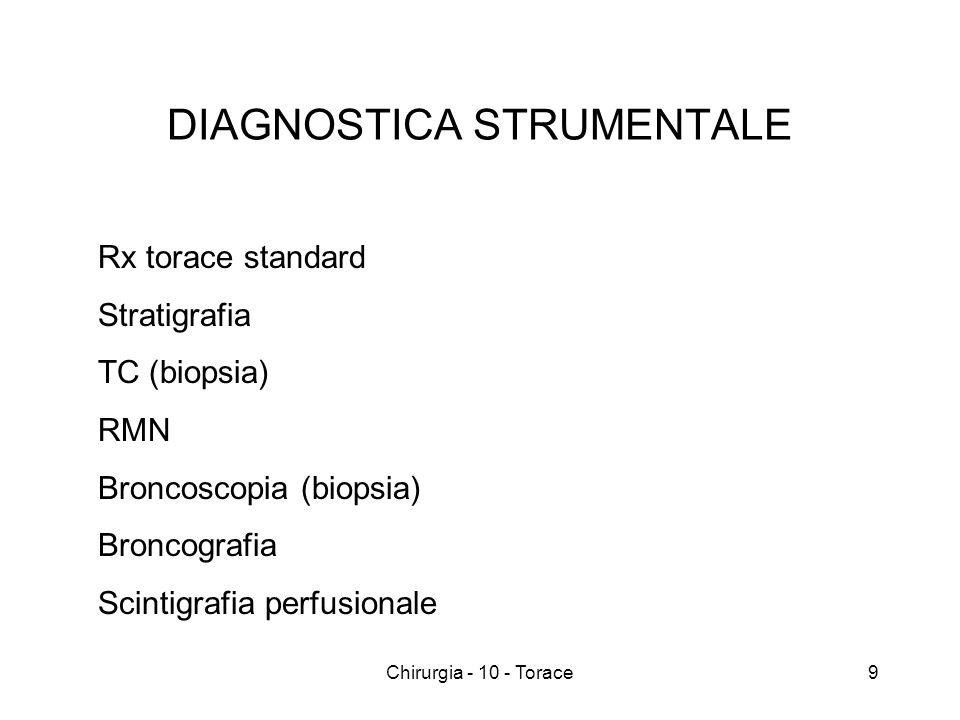 DIAGNOSTICA STRUMENTALE Rx torace standard Stratigrafia TC (biopsia) RMN Broncoscopia (biopsia) Broncografia Scintigrafia perfusionale 9Chirurgia - 10 - Torace
