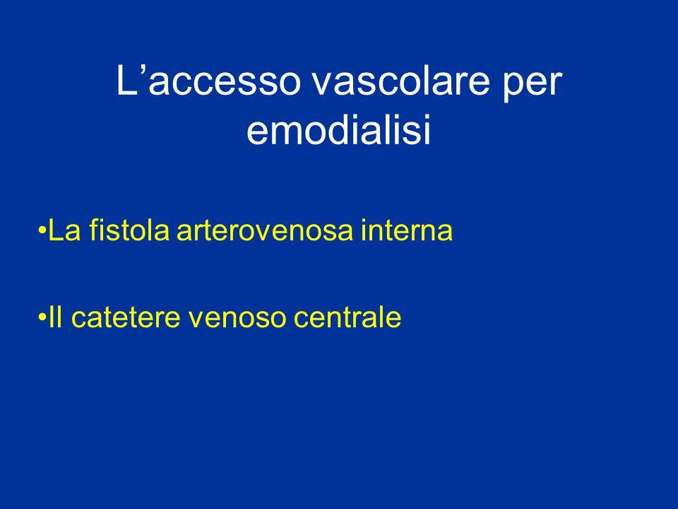 Laccesso vascolare per emodialisi La fistola arterovenosa interna Il catetere venoso centrale