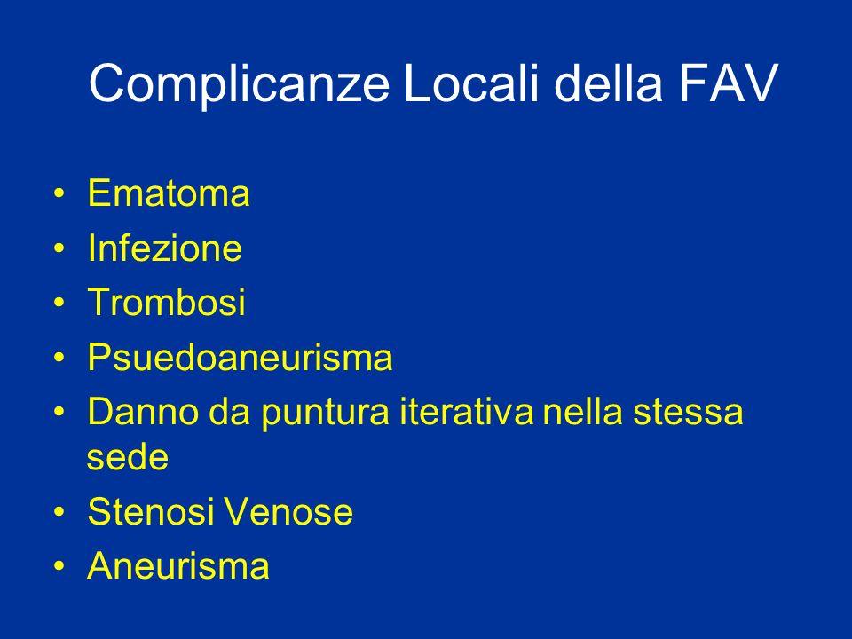 Complicanze Locali della FAV Ematoma Infezione Trombosi Psuedoaneurisma Danno da puntura iterativa nella stessa sede Stenosi Venose Aneurisma