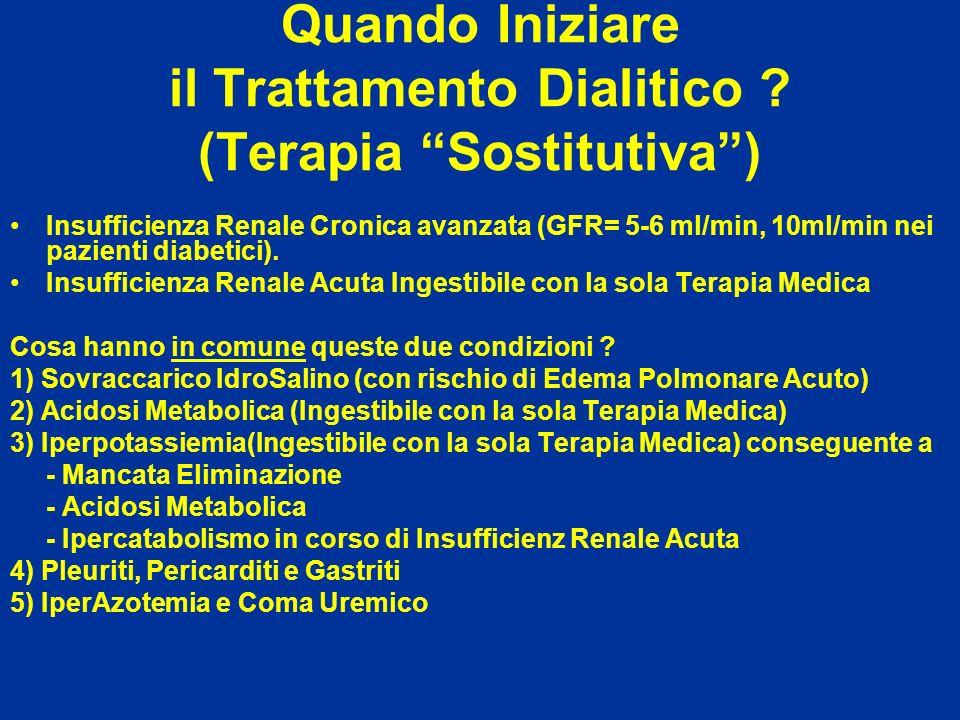 Quando Iniziare il Trattamento Dialitico ? (Terapia Sostitutiva) Insufficienza Renale Cronica avanzata (GFR= 5-6 ml/min, 10ml/min nei pazienti diabeti