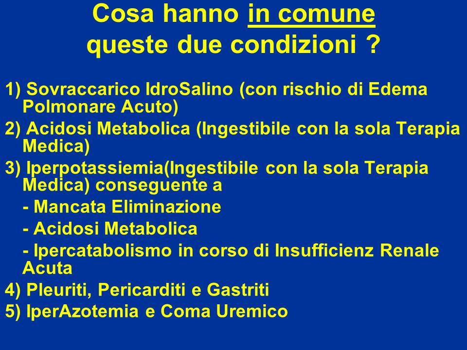 Cosa hanno in comune queste due condizioni ? 1) Sovraccarico IdroSalino (con rischio di Edema Polmonare Acuto) 2) Acidosi Metabolica (Ingestibile con