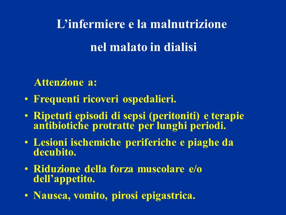 Linfermiere e la malnutrizione nel malato in dialisi Attenzione a: Frequenti ricoveri ospedalieri. Ripetuti episodi di sepsi (peritoniti) e terapie an