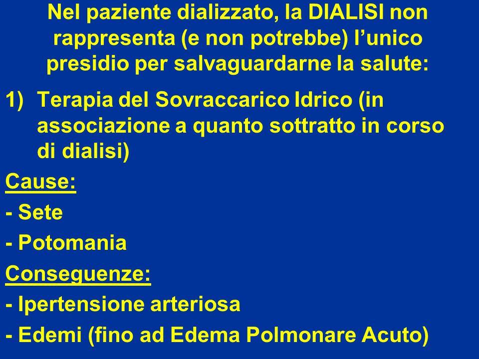 Nel paziente dializzato, la DIALISI non rappresenta (e non potrebbe) lunico presidio per salvaguardarne la salute: 1)Terapia del Sovraccarico Idrico (