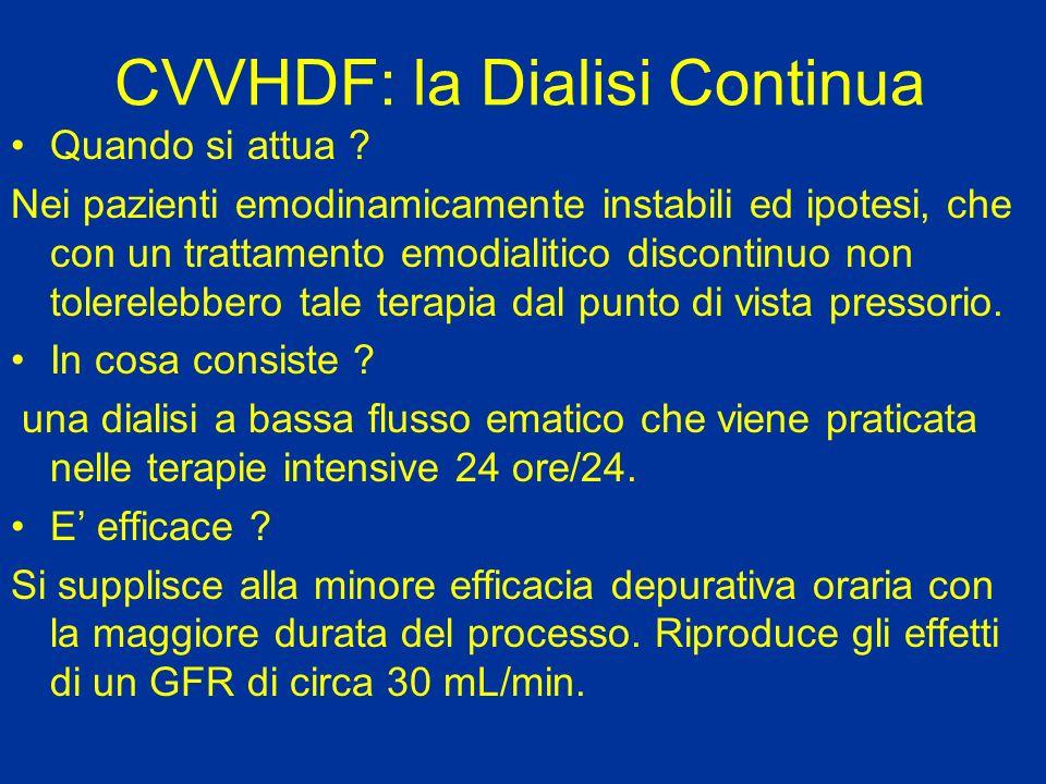 CVVHDF: la Dialisi Continua Quando si attua ? Nei pazienti emodinamicamente instabili ed ipotesi, che con un trattamento emodialitico discontinuo non