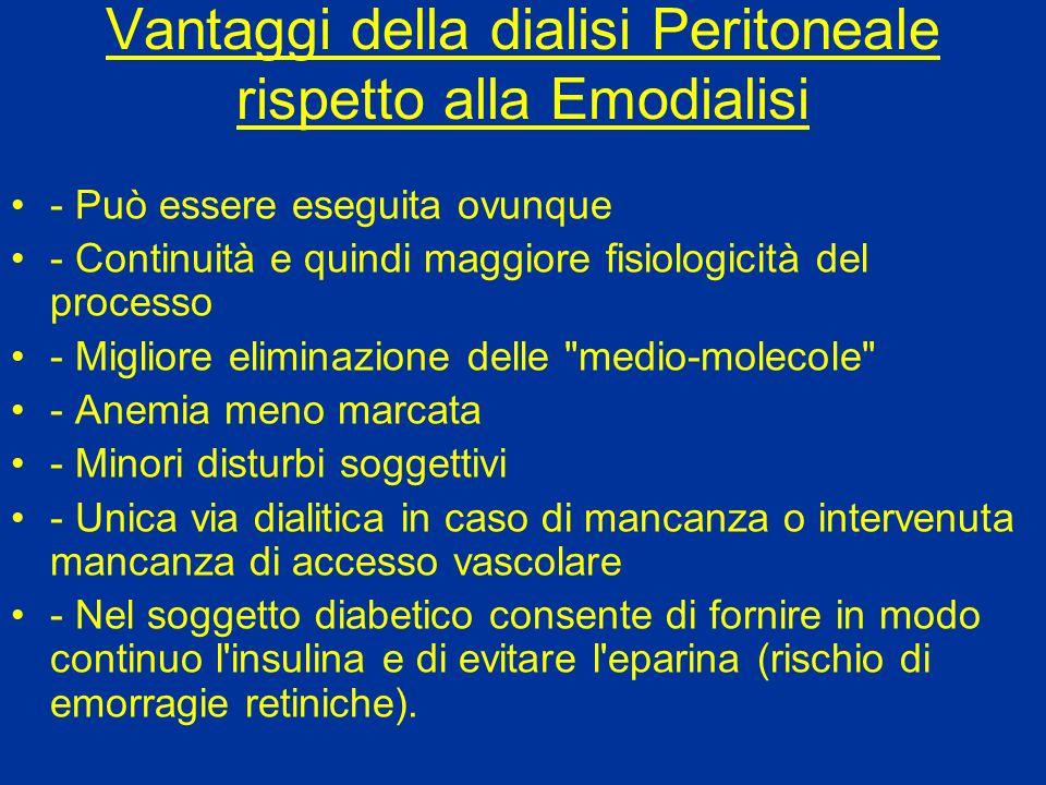 Vantaggi della dialisi Peritoneale rispetto alla Emodialisi - Può essere eseguita ovunque - Continuità e quindi maggiore fisiologicità del processo -