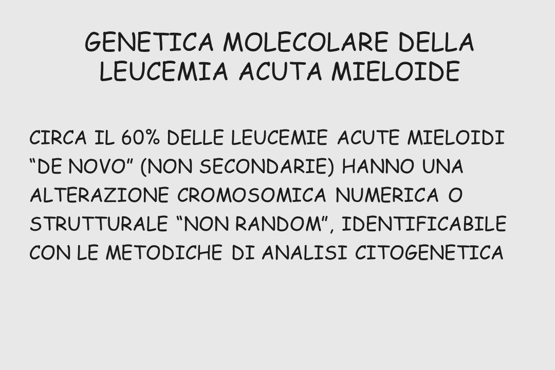 GENETICA MOLECOLARE DELLA LEUCEMIA ACUTA MIELOIDE CIRCA IL 60% DELLE LEUCEMIE ACUTE MIELOIDI DE NOVO (NON SECONDARIE) HANNO UNA ALTERAZIONE CROMOSOMIC
