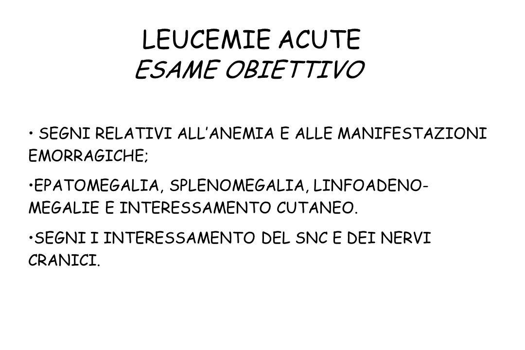 LEUCEMIE ACUTE ESAME OBIETTIVO SEGNI RELATIVI ALLANEMIA E ALLE MANIFESTAZIONI EMORRAGICHE; EPATOMEGALIA, SPLENOMEGALIA, LINFOADENO- MEGALIE E INTERESS