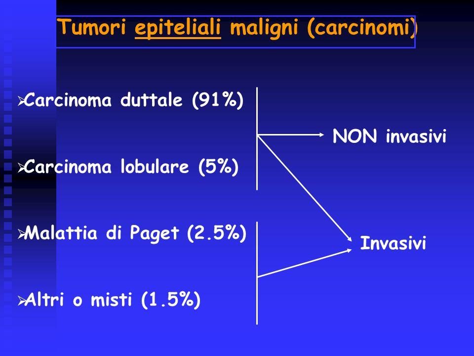 Carcinoma duttale (91%) Carcinoma lobulare (5%) Malattia di Paget (2.5%) Altri o misti (1.5%) NON invasivi Invasivi Tumori epiteliali maligni (carcino