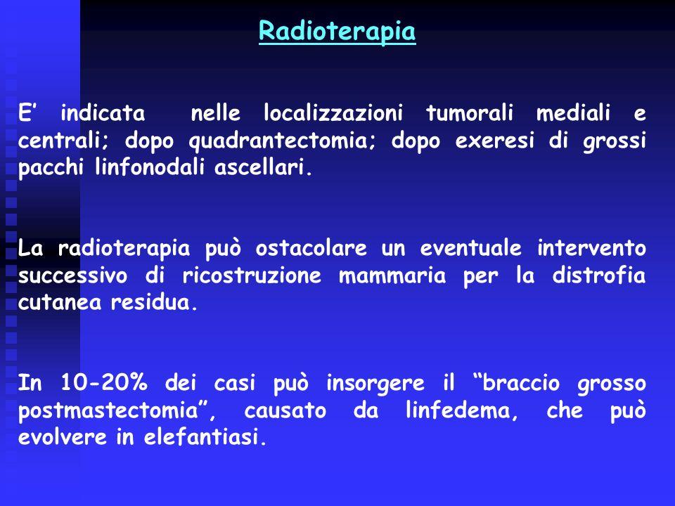 E indicata nelle localizzazioni tumorali mediali e centrali; dopo quadrantectomia; dopo exeresi di grossi pacchi linfonodali ascellari. La radioterapi