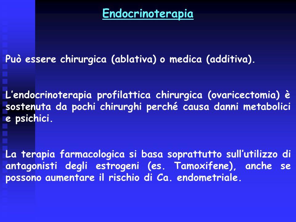 Endocrinoterapia Può essere chirurgica (ablativa) o medica (additiva). Lendocrinoterapia profilattica chirurgica (ovaricectomia) è sostenuta da pochi