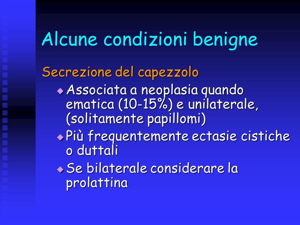 Alcune condizioni benigne Secrezione del capezzolo Associata a neoplasia quando ematica (10-15%) e unilaterale, (solitamente papillomi) Associata a ne