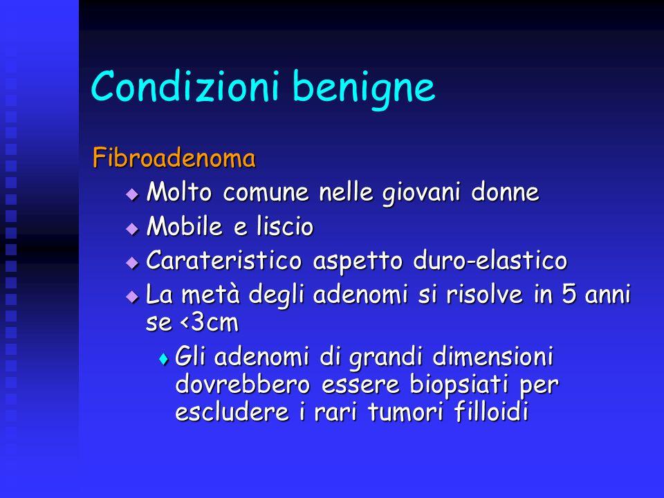 Condizioni benigne Fibroadenoma Molto comune nelle giovani donne Molto comune nelle giovani donne Mobile e liscio Mobile e liscio Carateristico aspett