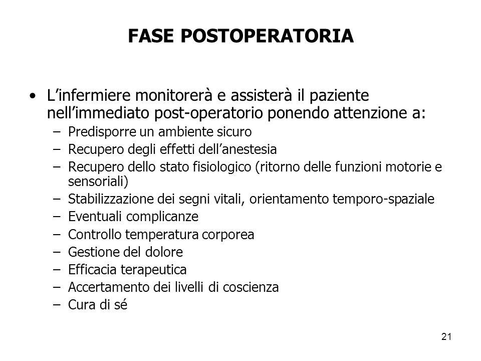 FASE POSTOPERATORIA Linfermiere monitorerà e assisterà il paziente nellimmediato post-operatorio ponendo attenzione a: –Predisporre un ambiente sicuro