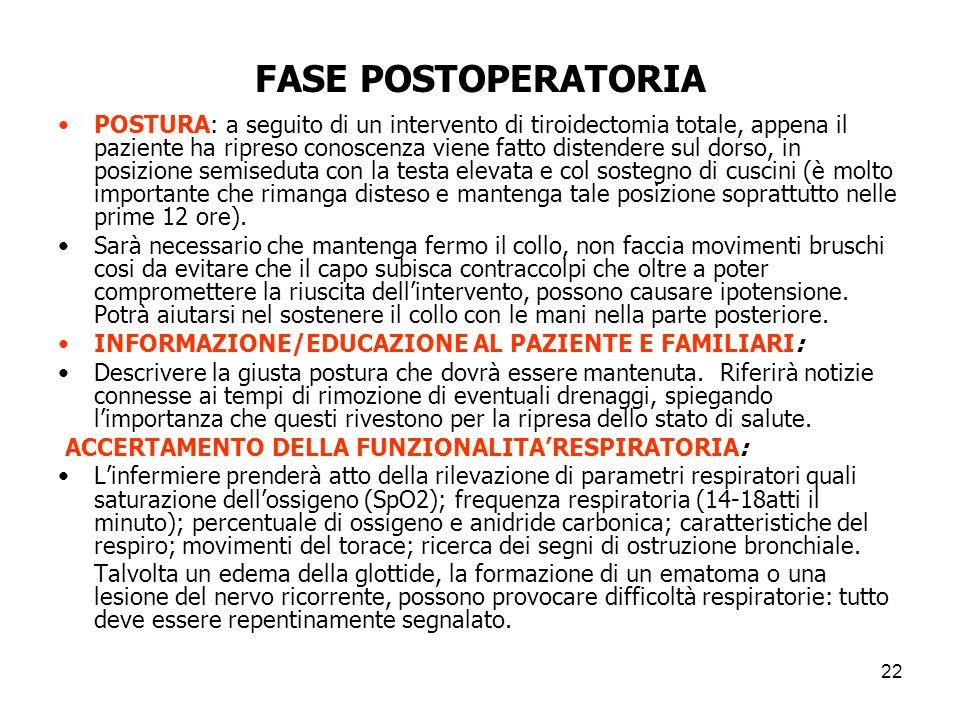 FASE POSTOPERATORIA POSTURA: a seguito di un intervento di tiroidectomia totale, appena il paziente ha ripreso conoscenza viene fatto distendere sul d