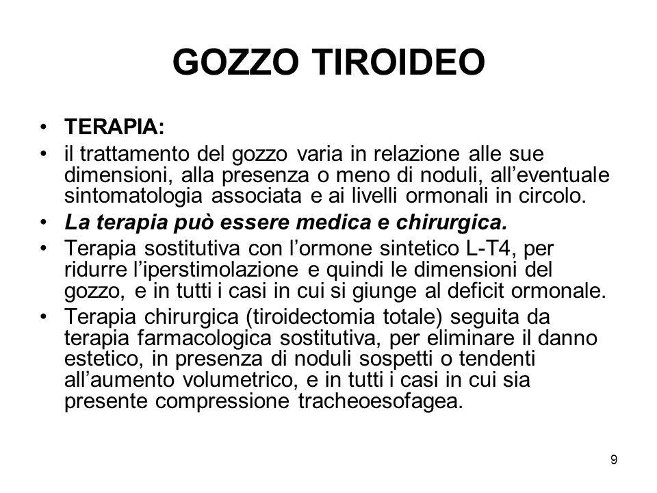 GOZZO TIROIDEO TERAPIA: il trattamento del gozzo varia in relazione alle sue dimensioni, alla presenza o meno di noduli, alleventuale sintomatologia a