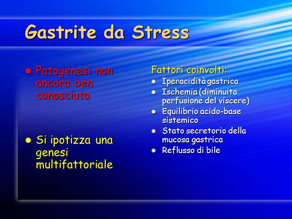 Gastrite da Stress Patogenesi non ancora ben conosciuta Patogenesi non ancora ben conosciuta Si ipotizza una genesi multifattoriale Si ipotizza una ge