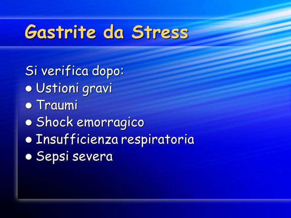 Gastrite da Stress Si verifica dopo: Ustioni gravi Ustioni gravi Traumi Traumi Shock emorragico Shock emorragico Insufficienza respiratoria Insufficie
