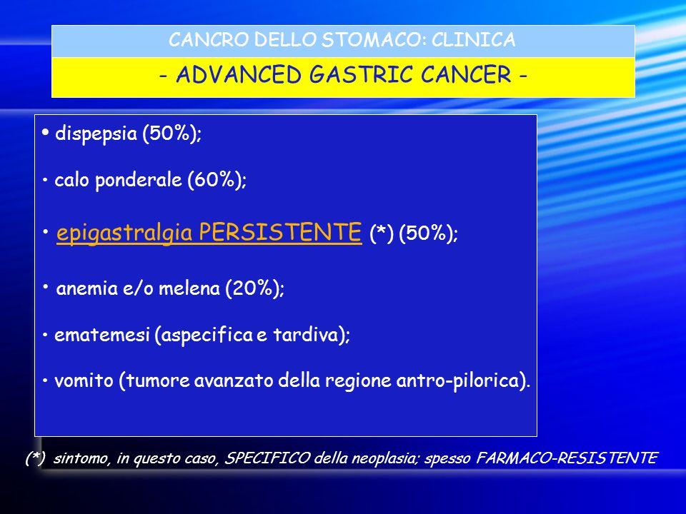 CANCRO DELLO STOMACO: CLINICA - ADVANCED GASTRIC CANCER - dispepsia (50%); calo ponderale (60%); epigastralgia PERSISTENTE (*) (50%); anemia e/o melen