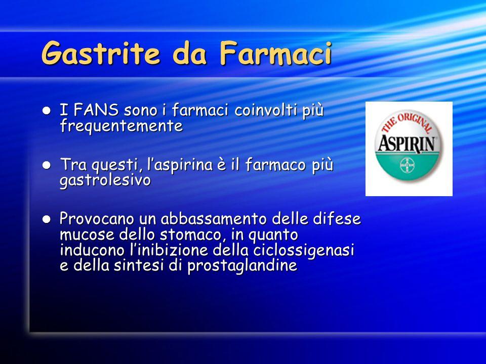Gastrite da Farmaci I FANS sono i farmaci coinvolti più frequentemente I FANS sono i farmaci coinvolti più frequentemente Tra questi, laspirina è il f