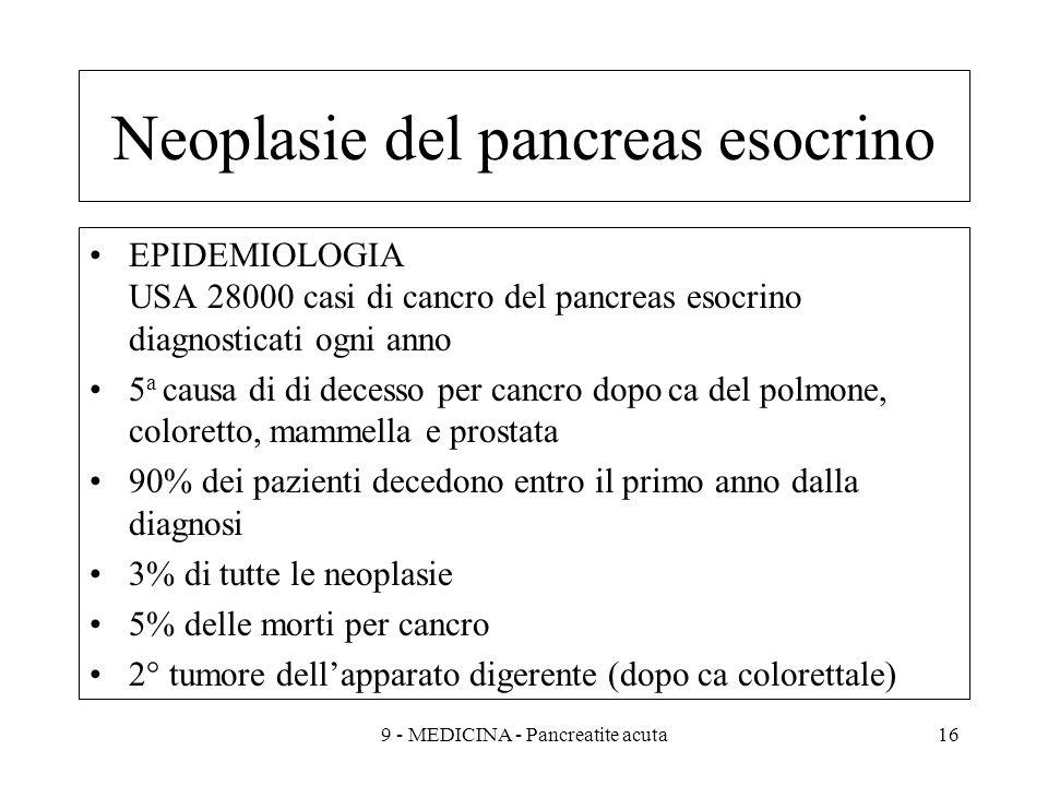 Neoplasie del pancreas esocrino EPIDEMIOLOGIA USA 28000 casi di cancro del pancreas esocrino diagnosticati ogni anno 5 a causa di di decesso per cancro dopo ca del polmone, coloretto, mammella e prostata 90% dei pazienti decedono entro il primo anno dalla diagnosi 3% di tutte le neoplasie 5% delle morti per cancro 2° tumore dellapparato digerente (dopo ca colorettale) 169 - MEDICINA - Pancreatite acuta