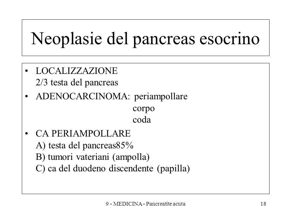 Neoplasie del pancreas esocrino LOCALIZZAZIONE 2/3 testa del pancreas ADENOCARCINOMA: periampollare corpo coda CA PERIAMPOLLARE A) testa del pancreas85% B) tumori vateriani (ampolla) C) ca del duodeno discendente (papilla) 189 - MEDICINA - Pancreatite acuta