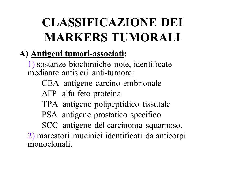 CLASSIFICAZIONE DEI MARKERS TUMORALI B) Ormoni: a sede eutopica provenienti da una ghiandola ipersecernente per trasformazione neoplastica (es.insulina, glucagone, catecolamine, prolattina), oppure a sede ectopica quando un tumore in un organo specifico produce un ormone che normalmente non dovrebbe esserci, ad es.
