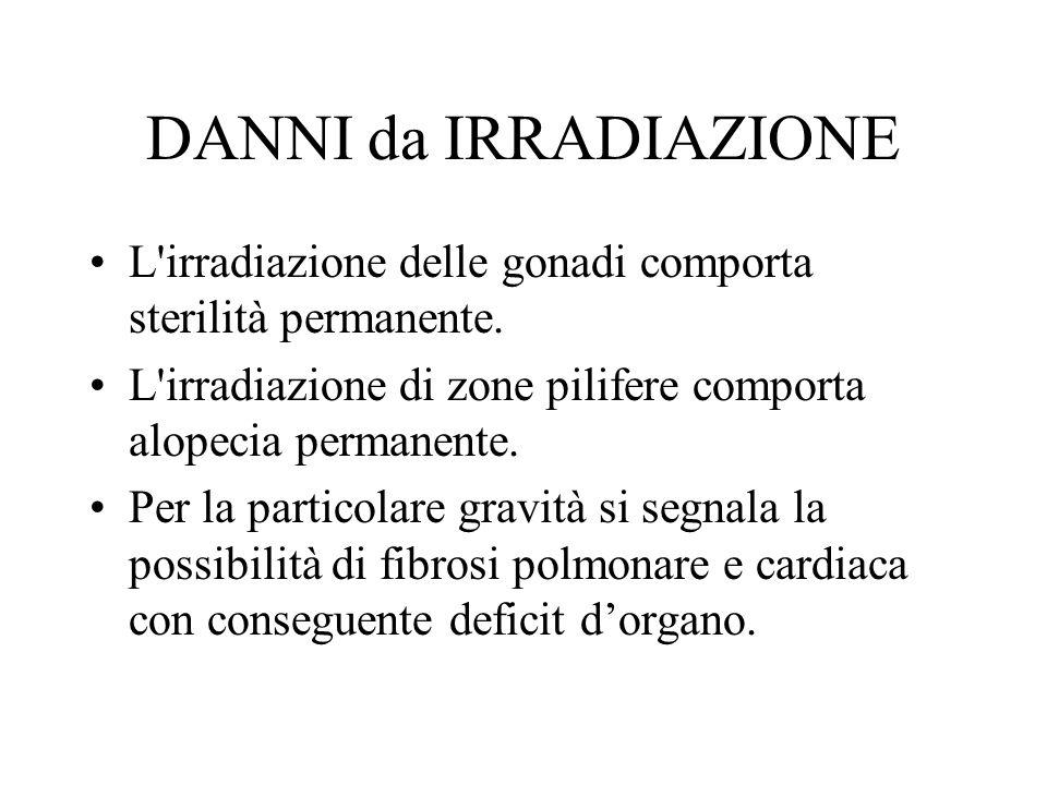 DANNI da IRRADIAZIONE L'irradiazione delle gonadi comporta sterilità permanente. L'irradiazione di zone pilifere comporta alopecia permanente. Per la