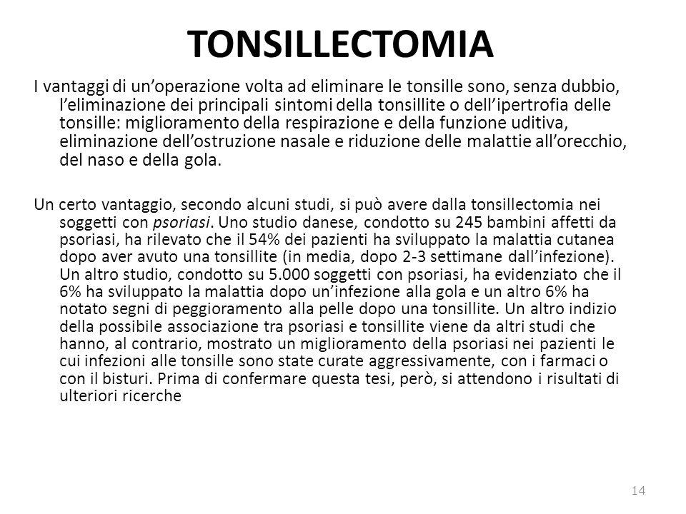 TONSILLECTOMIA I vantaggi di unoperazione volta ad eliminare le tonsille sono, senza dubbio, leliminazione dei principali sintomi della tonsillite o d