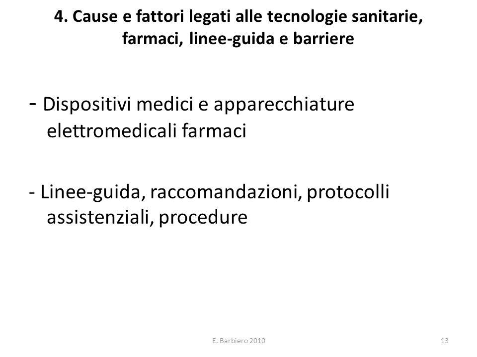 E. Barbiero 201013 4. Cause e fattori legati alle tecnologie sanitarie, farmaci, linee-guida e barriere - Dispositivi medici e apparecchiature elettro