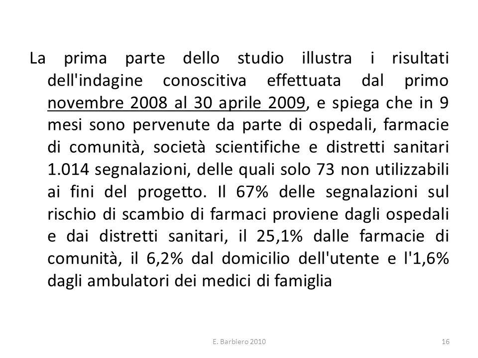 E. Barbiero 201016 La prima parte dello studio illustra i risultati dell'indagine conoscitiva effettuata dal primo novembre 2008 al 30 aprile 2009, e