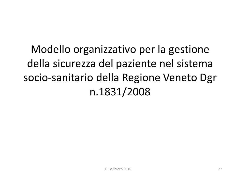 E. Barbiero 201027 Modello organizzativo per la gestione della sicurezza del paziente nel sistema socio-sanitario della Regione Veneto Dgr n.1831/2008