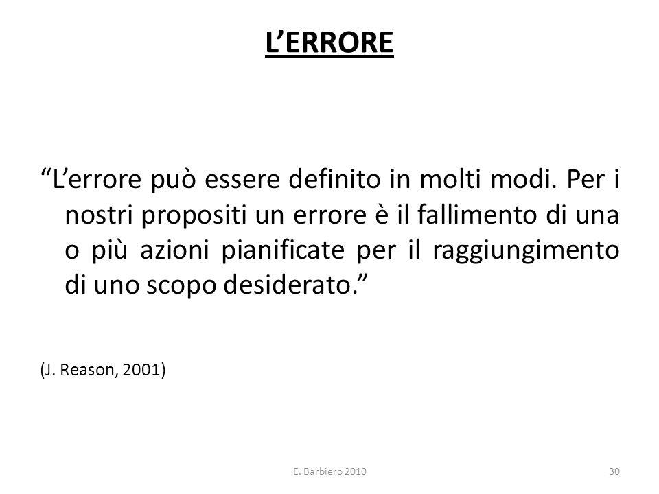 E. Barbiero 201030 LERRORE Lerrore può essere definito in molti modi. Per i nostri propositi un errore è il fallimento di una o più azioni pianificate