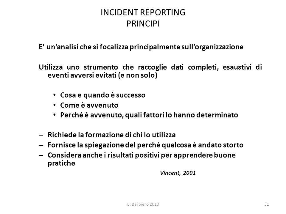 E. Barbiero 201031 INCIDENT REPORTING PRINCIPI E unanalisi che si focalizza principalmente sullorganizzazione Utilizza uno strumento che raccoglie dat