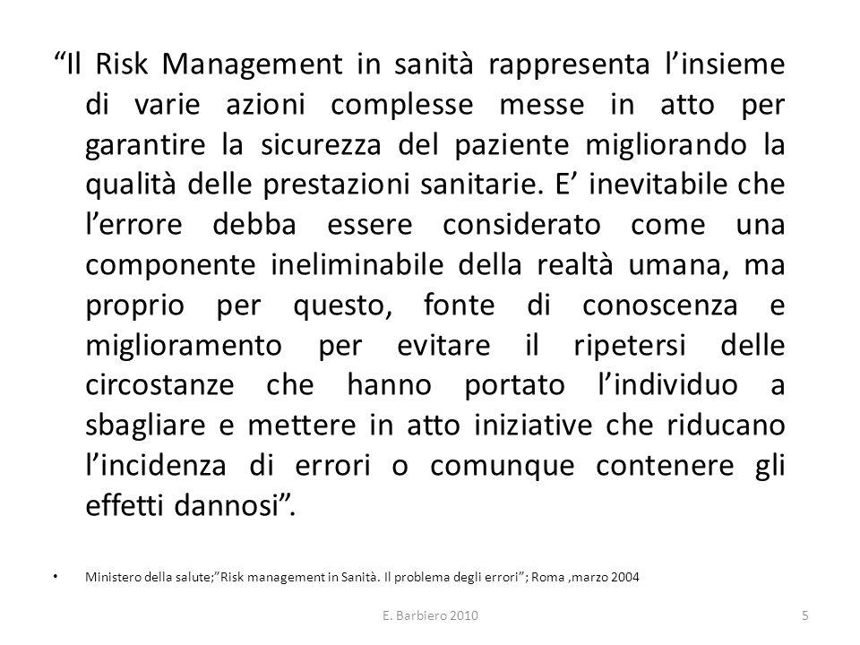 E. Barbiero 20105 Il Risk Management in sanità rappresenta linsieme di varie azioni complesse messe in atto per garantire la sicurezza del paziente mi