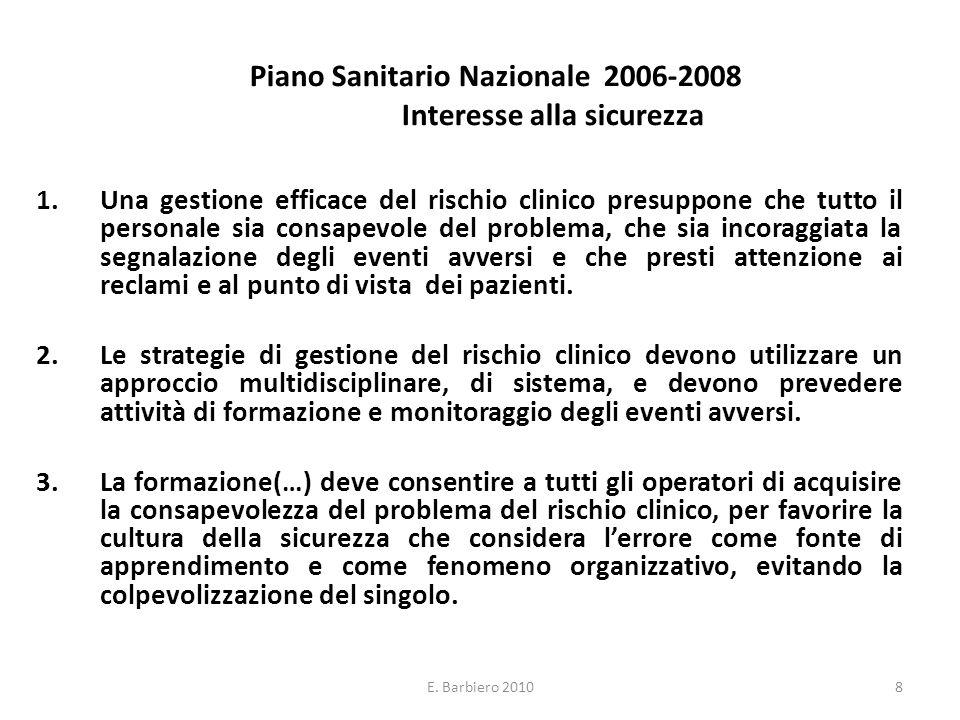 E. Barbiero 20108 Piano Sanitario Nazionale 2006-2008 Interesse alla sicurezza 1.Una gestione efficace del rischio clinico presuppone che tutto il per