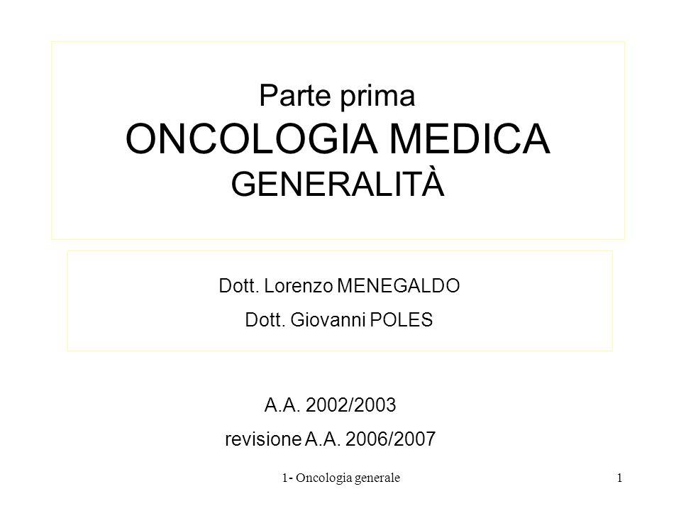 Parte prima ONCOLOGIA MEDICA GENERALITÀ Dott. Lorenzo MENEGALDO Dott. Giovanni POLES A.A. 2002/2003 revisione A.A. 2006/2007 11- Oncologia generale
