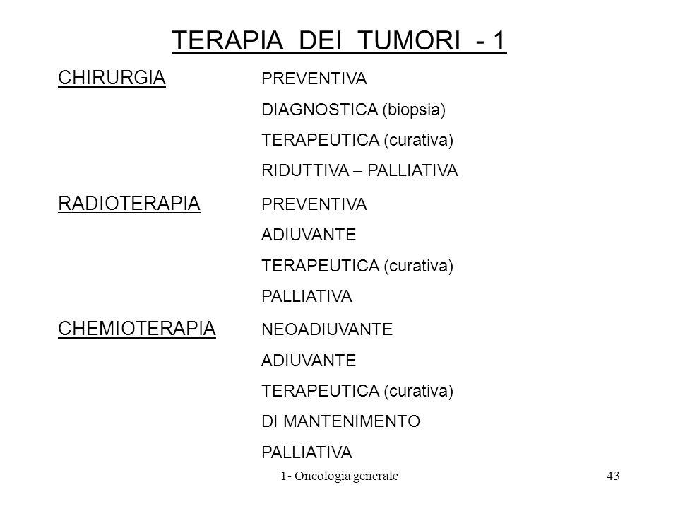TERAPIA DEI TUMORI - 1 CHIRURGIA PREVENTIVA DIAGNOSTICA (biopsia) TERAPEUTICA (curativa) RIDUTTIVA – PALLIATIVA RADIOTERAPIA PREVENTIVA ADIUVANTE TERA