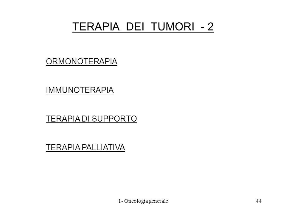TERAPIA DEI TUMORI - 2 ORMONOTERAPIA IMMUNOTERAPIA TERAPIA DI SUPPORTO TERAPIA PALLIATIVA 441- Oncologia generale